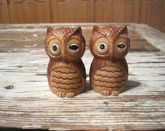 Plastic Brown Owl Salt and Pepper Shakers