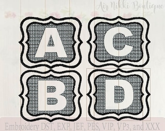 5x7, 26 Letter Embossed Embroidery Set. dst, exp, jef, pes, vip, vp3 and xxx, Instant download