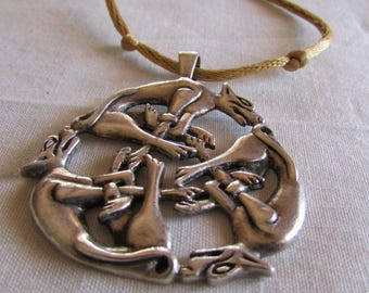 Sterling Silver Celtic Wolf Necklace