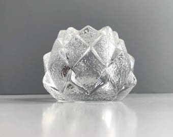 Vintage Modern Orrefors Nimbus Artichoke Votive Glass Candle Holder by Berit Johansson