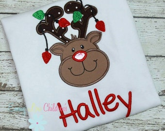 Christmas Shirt - Personalized - Reindeer with lights- Rudolph - Reindeer