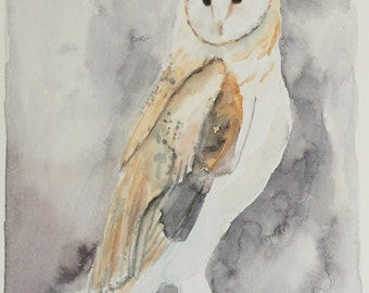 Original 5in x 7in Watercolor Owl