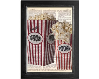 Popcorn at The Theater - Movie Popcorn print on Vintage Dictionary Paper - 8x10.5