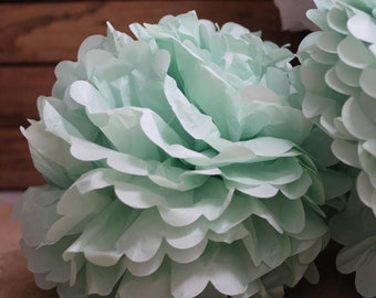 "Mint Paper Pom poms.Tissue Pom Poms DYI Wedding 14""  Light Green Tissue Paper POM POM / Pompom , Kids Party Supplies / Wedding / Baby Shower"