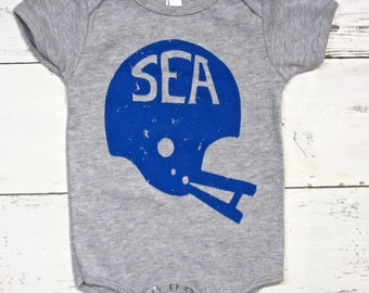 Seattle Football baby one piece. Hawks baby bodysuit.