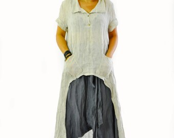 Beige 100% linen organic tunic/Maxi blouse/Handmade linen tunic/Maxi top tunic/Casual top/Short sleeves tunic/Oversize beige caftan/T1225