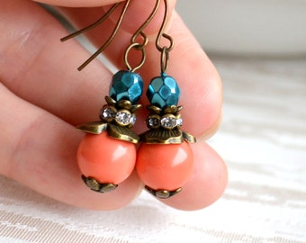 Teal and orange Bridesmaid Jewelry Teal and coral wedding jewelry Teal and orange bridesmaid earrings Bridesmaid Gifts Teal and orange gift