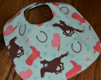 Cowgirl Baby Bib Reversible flannel