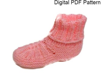 Front Ribbed Booties Slippers Knitting Pattern PDF Knitting Pattern Knitting Shoes, Knitting Booties PDF File Is not a finished product.