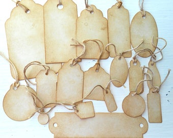 Coffee Stained Tags Mixed Lot Square Round Rectangle Grunge Primitive Rustic Gift Tags Junk Journals Price Tags Jewelry Scrapbook Hang Tags