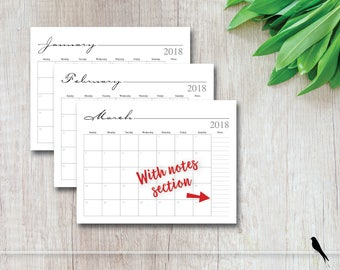 2018 Printable 12 Month Calendar - Whimsical, To Do List, 12 Month Wall Calendar - Family, Office, Appointment Calendar - Instant Download