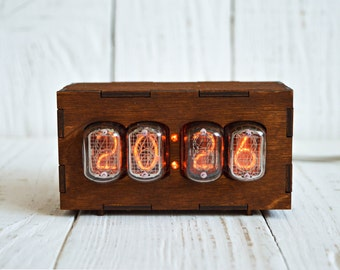 Nixie Tube Clock With 4 Digits, Nixie Clock IN-12A, Vintage Clock With Soviet Tubes, USB Clock
