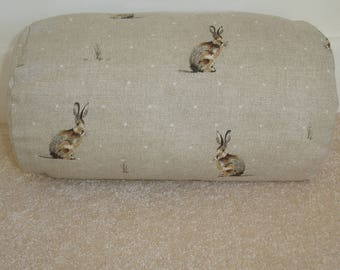 """Bolster Cover 16""""x6"""" Rounded-end Bolster Pillow Sham Hares Round Ended End Scatter Throw Cushion Case 16"""" Neck Roll Hartley Hare Beige Brown"""