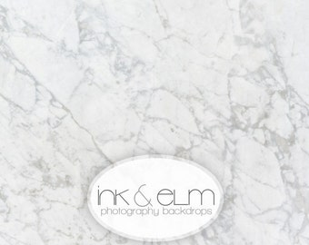 "Marble Backdrop 5ft x 4ft, Marble Photography Background, Product Photography Backdrop, Ink and Elm ""Classic Marble"""
