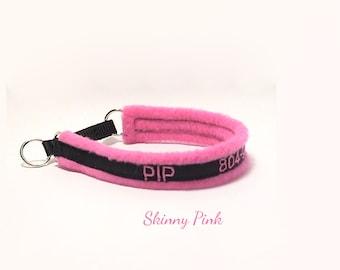 Thin soft skinny fleece martingale clip personalized dog collar custom