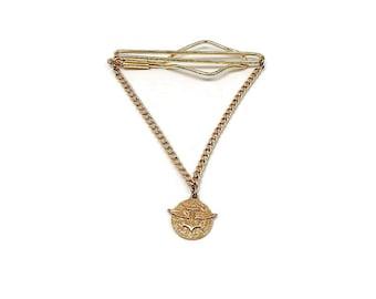 Winged Anchor Vintage Tie Bar, Slide on Gold Tone with Chain, Cravat Holder, Mens Formal, Best Man Groom Gift, Gift for Him
