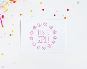 It's A Girl Birthday, Card, New Baby Card, Congratulations New Baby Girl, Card For New Baby, New Arrival Birthday Card, Baby Girl Card 2017