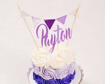 Name Cake topper, Cake topper with name, Cake Topper Flags with age