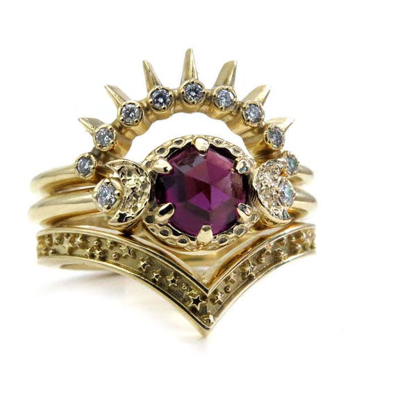 Garnet Sunray Moon and Star Engagement Ring Set - 14k Gold with Diamonds - Gothic Bohemian