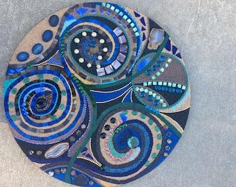 """24 inch circular mixed media abstract mosaic  """"Equinox"""""""