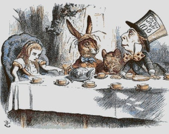 Alice in Wonderland Cross Stitch Pattern, Mad Hatter's Tea Party, Instant PDF Download