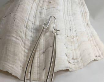 Sterling Silver Long Rectangle Hoop Earrings-Angles