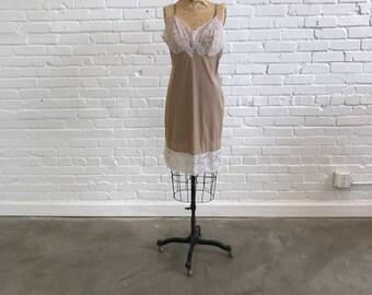 1960s Beige Slip  // 60s Vintage Nylon and Lace Dress Slip  // Vintage 1960s Slip Dress Vassarette