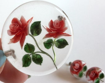 Red Flower Brooch and Earrings Set - Clear Lucite Reverse Carved Circles with Red Roses and Green Leaves - Screwback Earrings - Vintage 50s
