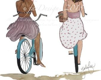 Let's Ride, Watercolor/Marker Illustration - Digital Download