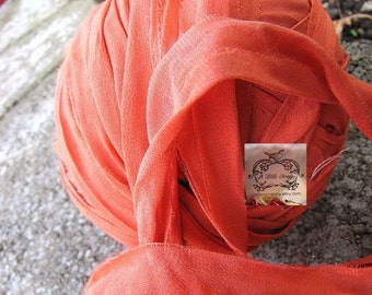 Sari Silk Melon Orange Chiffon Silk Ribbon