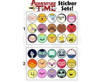Adventure Time 15 Stickers per Set: Finn, Jake, Marceline, Princess Bubblegum, Ice King, Gunter, BMO, Lumpy Space Princess and more!