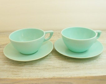 Vintage Melamine Cups and Saucers Sun Valley Melmac Dinnerware Aqua 4 Pieces 1960s