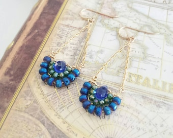 Sapphire and Sage Crystal Long Drop Earrings
