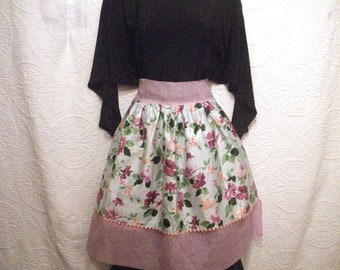 Vintage Organza & Chintz Reversible Half Apron - Pink Purple and Floral - Small Waist - 1950s 1960s