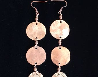 Copper Circle Drop Swing Earrings
