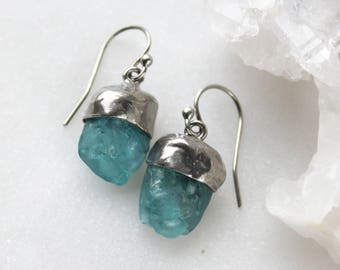 apatite earrings, raw apatite, raw gemstone, rough stone, silver earrings, raw dangle, recycled silver