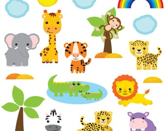 GET STICKING DÉCOR® Cute jungle safari animals wall stickers/ wall decals collection, safr.4. (Large)