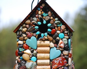 Large Outdoor Birdhouse with Turquoise, Mosaic birdhouse for Wine Lovers, wine cork birdhouse, Oregon, stone birdhouse, garden art