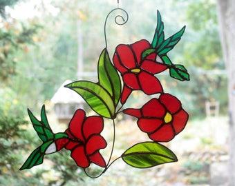 Stained Glass Hummingbirds, Stained Glass Bird Suncatcher, Glass Art, Wildlife Art, Bird Lovers Gift