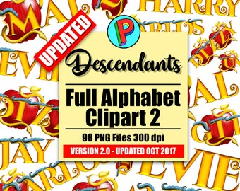 Descendants 2 - Full Alphabet Clipart - UPDATED October 2017 - 3 Full Alphabets - 98 png files 300 dpi - Descendants 2 Party