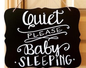 Nursery Chalkboard. Quiet Sign. Quiet please baby sleeping sign. Custom. Door hanger.