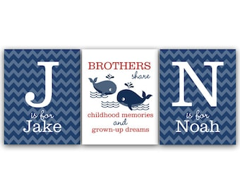 Brothers Wall Art, DIGITAL DOWNLOAD Boys Monogram Art, Blue Chevron Whale Nursery, Brothers Quote, Kids Name Art, Boys Room Decor - KIDS111