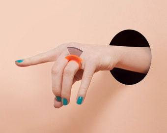 Modern Minimalist Ring  - Geometric Jewelry - Contemporary Ring - Plexiglass -  Acrylic Jewelry - Laser cut - Secret Circle Rings