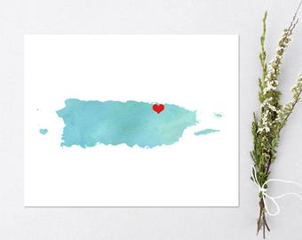 Puerto Rico or ANY STATE Map - Custom Personalized Heart Print - Hometown Wall Art Gift Souvenir - Watercolor Series Custom Map art