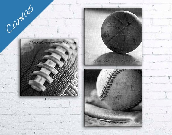 Teen room decor Sports wall decor for boys room Man cave canvas art kids room Sports Basketball Football Baseball set