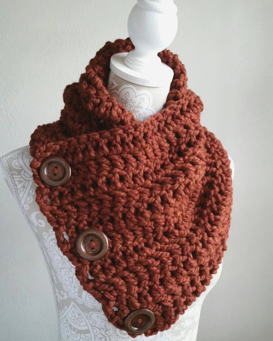 Crochet pattern, 3 button scarf, crochet scarf pattern, DIY scarf ...