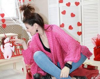 Womens lace cardigan Knit cardigan pattern Pink cardigan sweater Ladies cardigan sweater Plus size cardigan Asymmetrical cozy cardigan