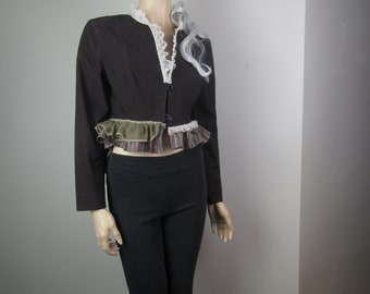 Lagenlook Cropped Jacket Rustic Boho Victorian with Ruffles and Lace Cotton Denim Stretch with Crepe Dusty Mauve Size S - M
