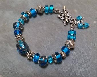 Glass Lampwork Beaded Bracelet-Sterling Silver Bracelet-Artisan Lampwork Metallic Sterling Silver Bracelet-Art Bead Bracelet-SRAJD