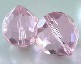 Glass Beads 16 x 14mm Passion Pink Faceted Lead Safe Crystal Onions - 2 Pieces